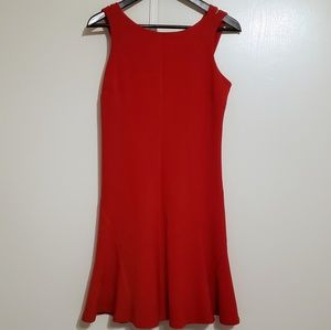 Ann Taylor Vibrant Red Flounce Hem Dress